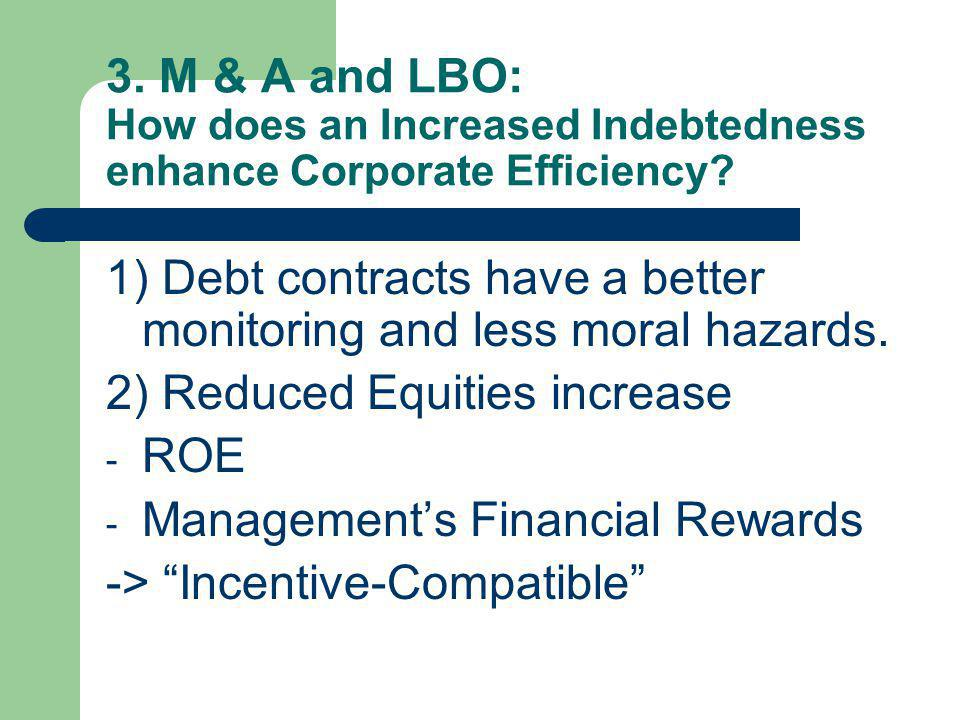 3. M & A and LBO: How does an Increased Indebtedness enhance Corporate Efficiency.
