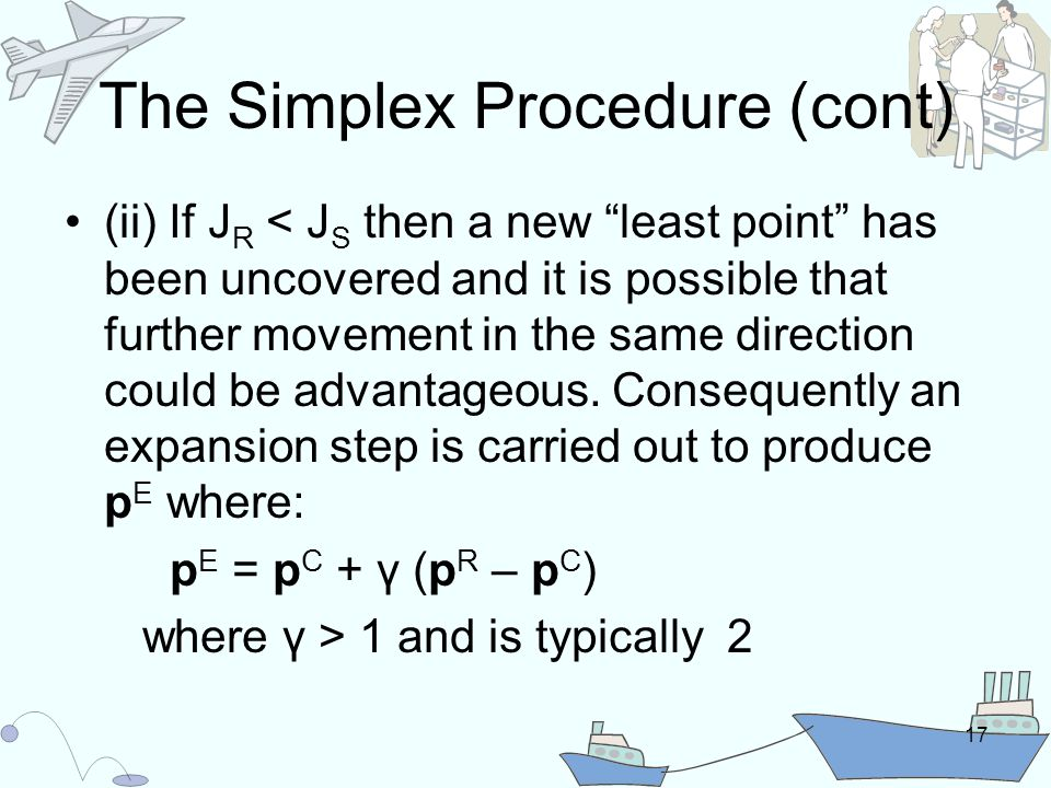17 The Simplex Procedure (cont) (ii) If J R < J S then a new least point has been uncovered and it is possible that further movement in the same direction could be advantageous.
