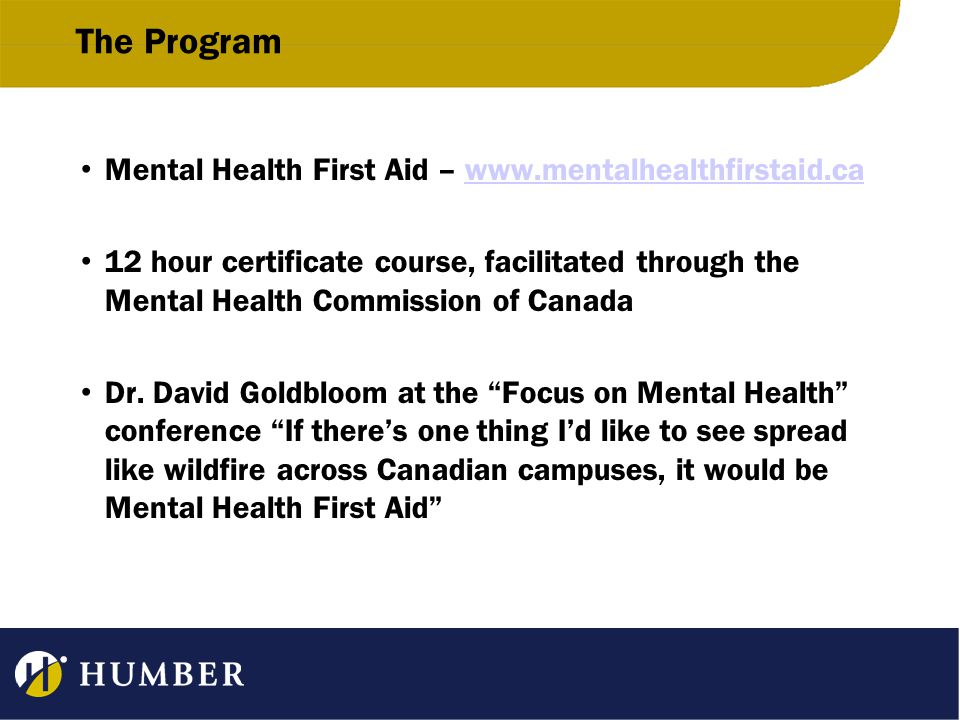 The Program Mental Health First Aid – www.mentalhealthfirstaid.cawww.mentalhealthfirstaid.ca 12 hour certificate course, facilitated through the Menta