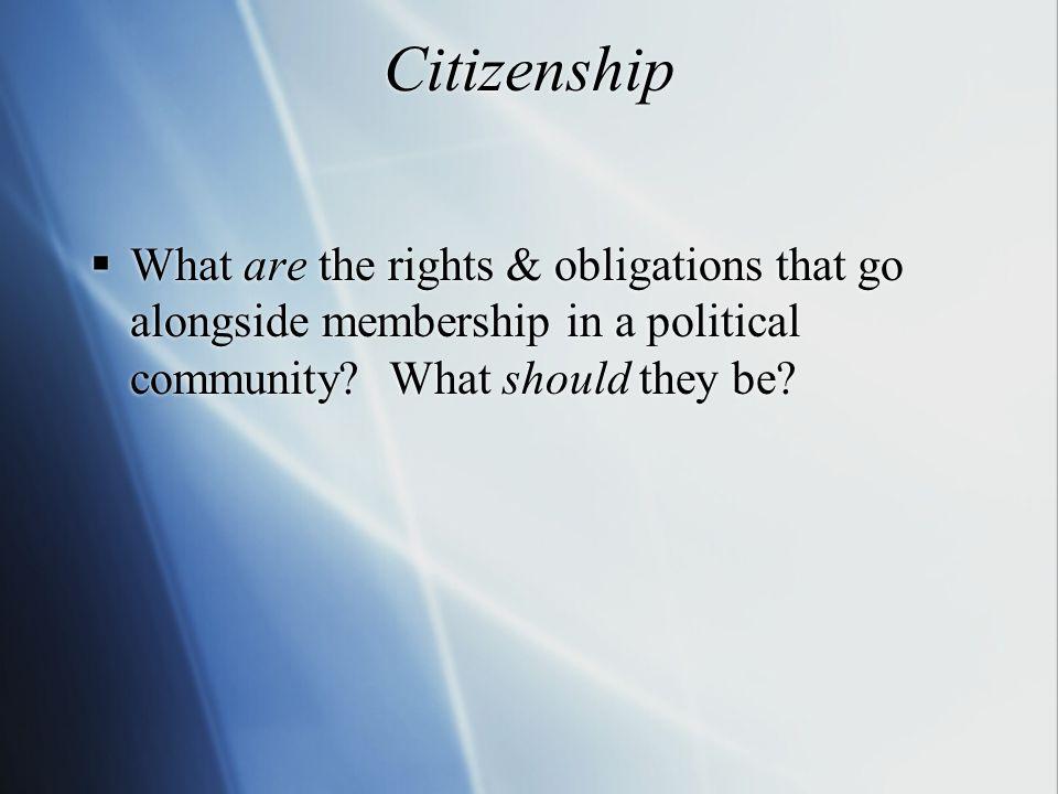 Origins of Citizenship  Dates back to Greek polis of antiquity, i.e.
