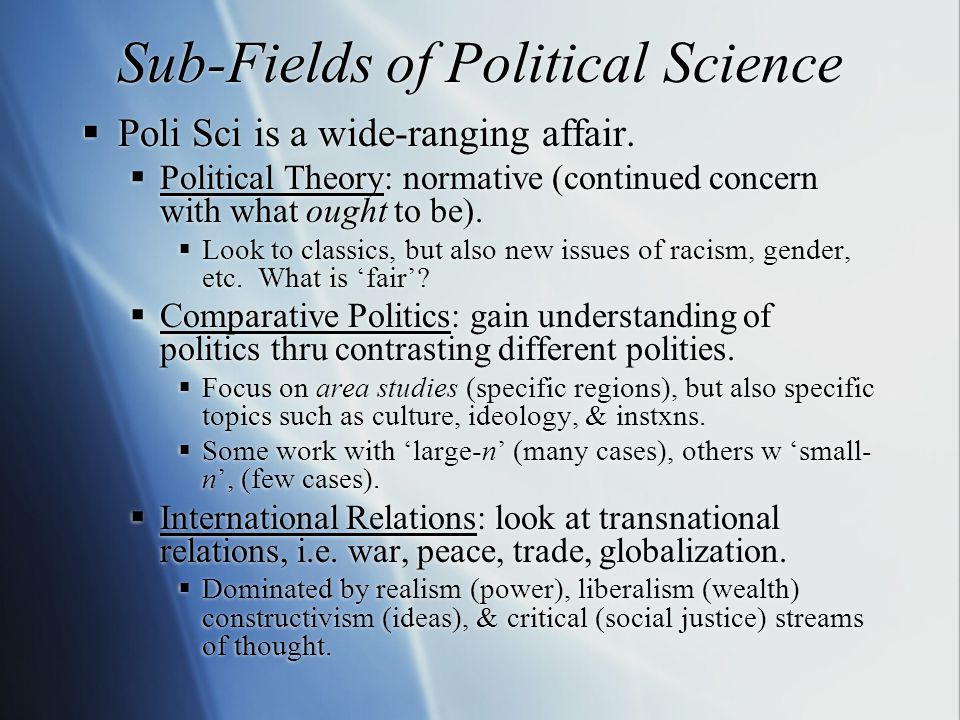 Sub-Fields of Political Science  Poli Sci is a wide-ranging affair.