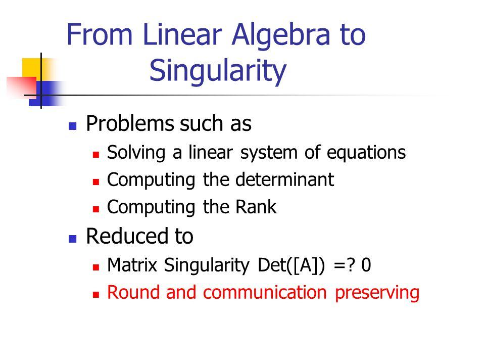Approach 1.Reduce linear algebra problems to matrix singularity 2.