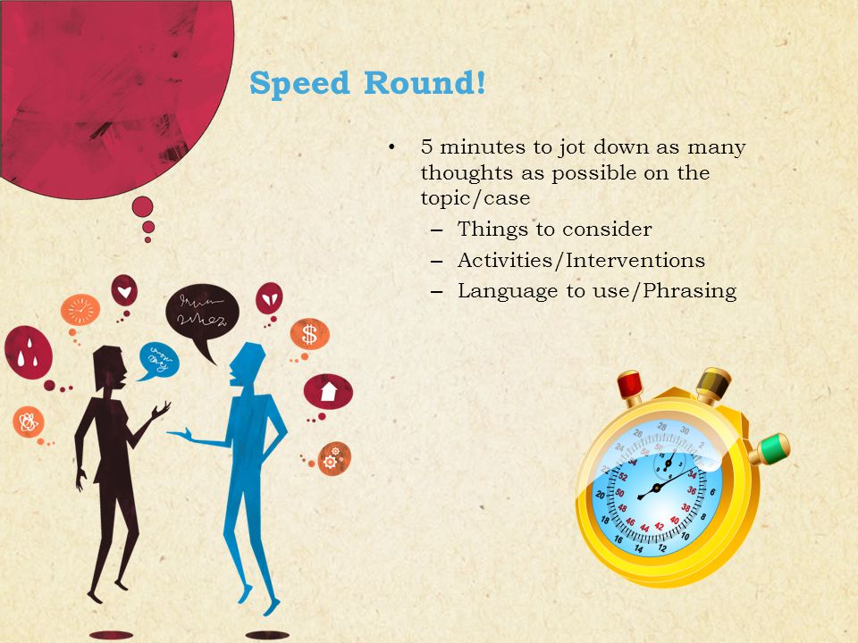 Speed Round! 5 minutes to jot down as many thoughts as possible on the topic/case – Things to consider – Activities/Interventions – Language to use/Ph