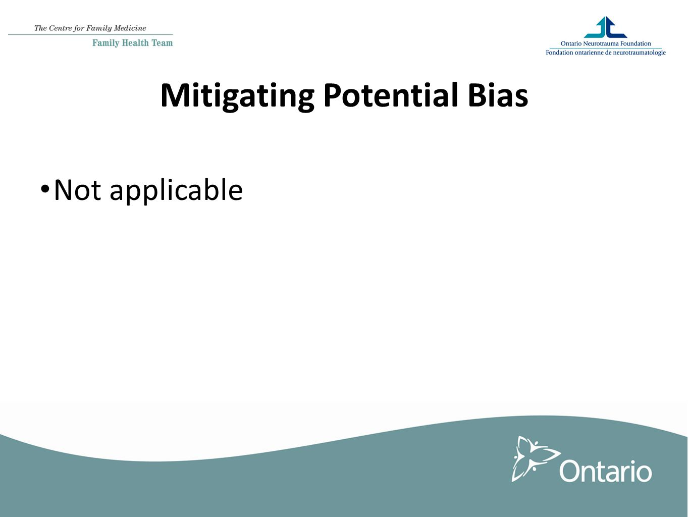 Mitigating Potential Bias Not applicable
