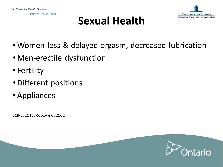 Sexual Health Women-less & delayed orgasm, decreased lubrication Men-erectile dysfunction Fertility Different positions Appliances SCIRE, 2011; Rutkowski, 2002