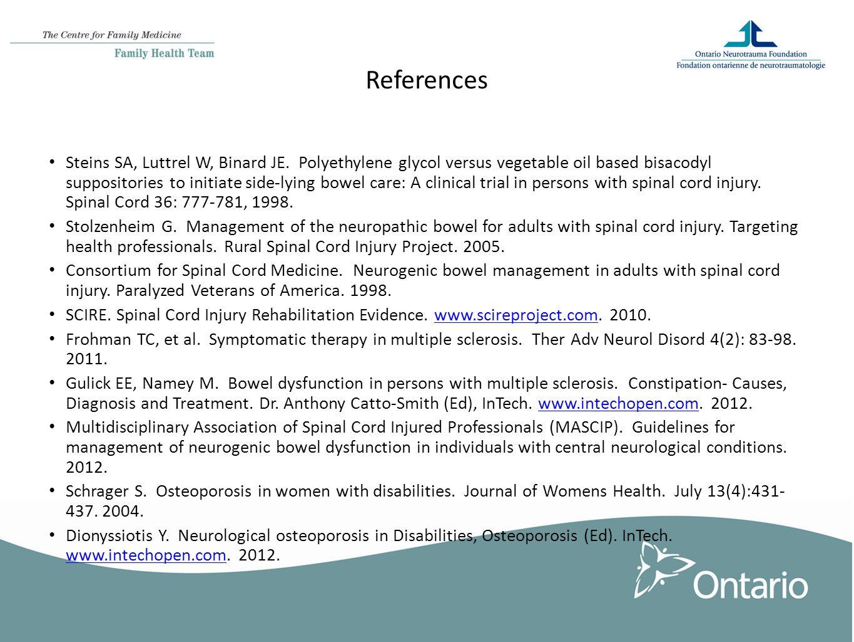 References Steins SA, Luttrel W, Binard JE.