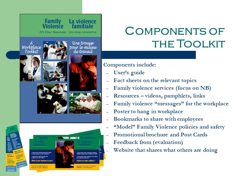 Components include: – User's guide – Fact sheets on the relevant topics – Family violence services (focus on NB) – Resources – videos, pamphlets, links – Family violence messages for the workplace – Poster to hang in workplace – Bookmarks to share with employees – Model Family Violence policies and safety plans – Promotional brochure and Post Cards – Feedback from (evaluation) – Website that shares what others are doing Components of the Toolkit
