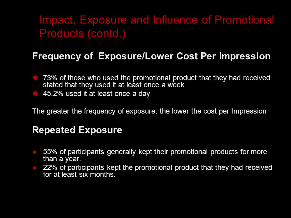 Impact, Exposure and Influence of Promotional Products (contd.) Frequency of Exposure/Lower Cost Per Impression  73% of those who used the promotional product that they had received stated that they used it at least once a week  45.2% used it at least once a day The greater the frequency of exposure, the lower the cost per Impression Repeated Exposure  55% of participants generally kept their promotional products for more than a year.