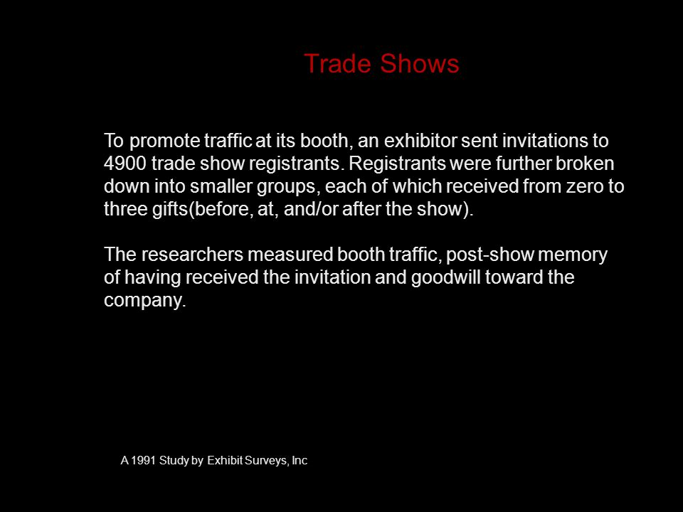 Trade Shows To promote traffic at its booth, an exhibitor sent invitations to 4900 trade show registrants.