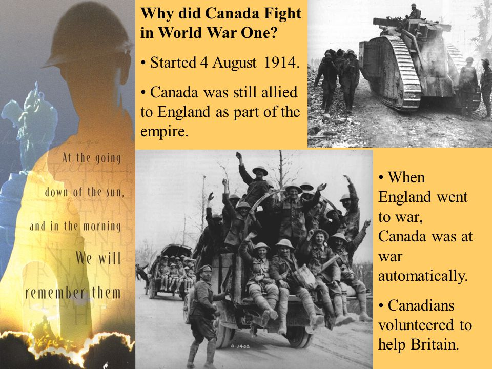 Young Men Join the Army Men joined from all over Canada to defend Canada.
