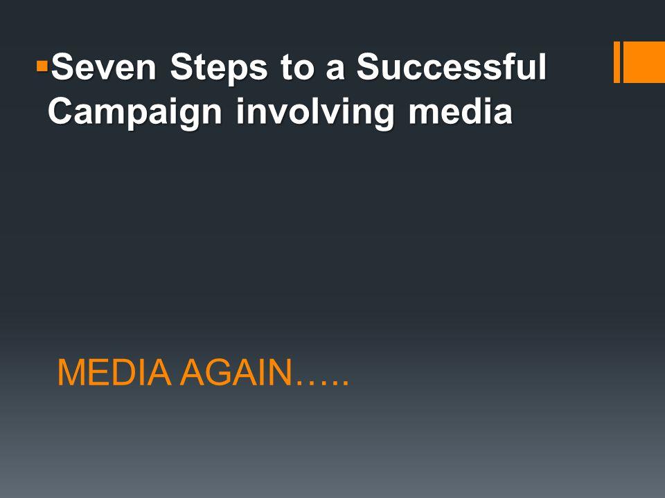 MEDIA AGAIN…..  Seven Steps to a Successful Campaign involving media
