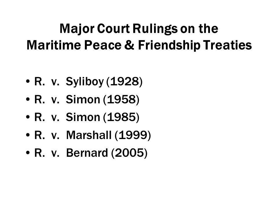 Major Court Rulings on the Maritime Peace & Friendship Treaties R.