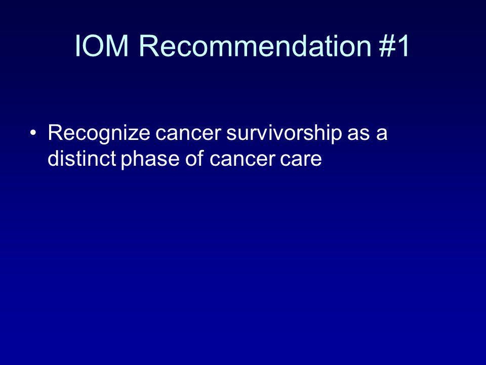 IOM Recommendation #1 Recognize cancer survivorship as a distinct phase of cancer care