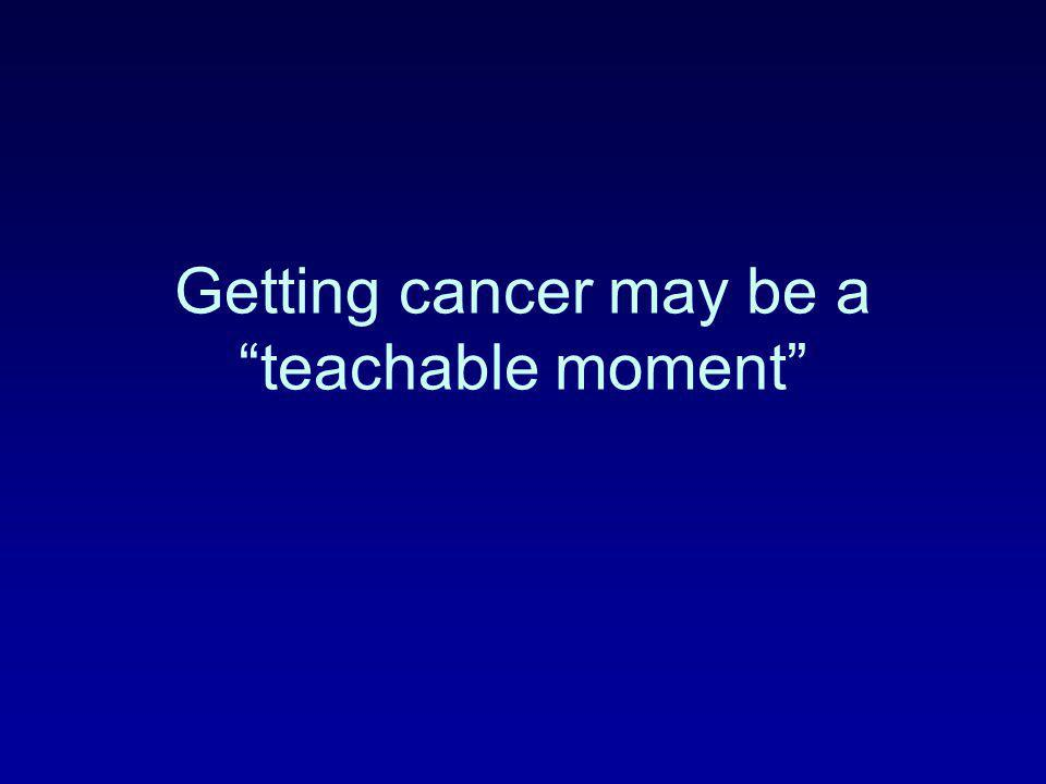 "Getting cancer may be a ""teachable moment"""