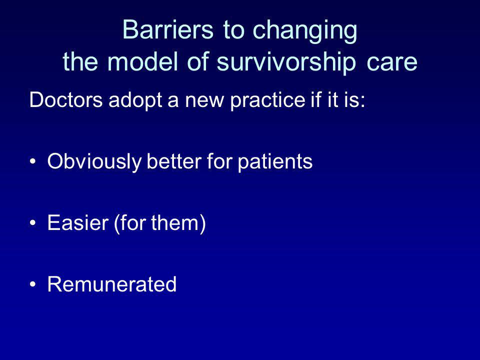 Barriers to changing the model of survivorship care Doctors adopt a new practice if it is: Obviously better for patients Easier (for them) Remunerated