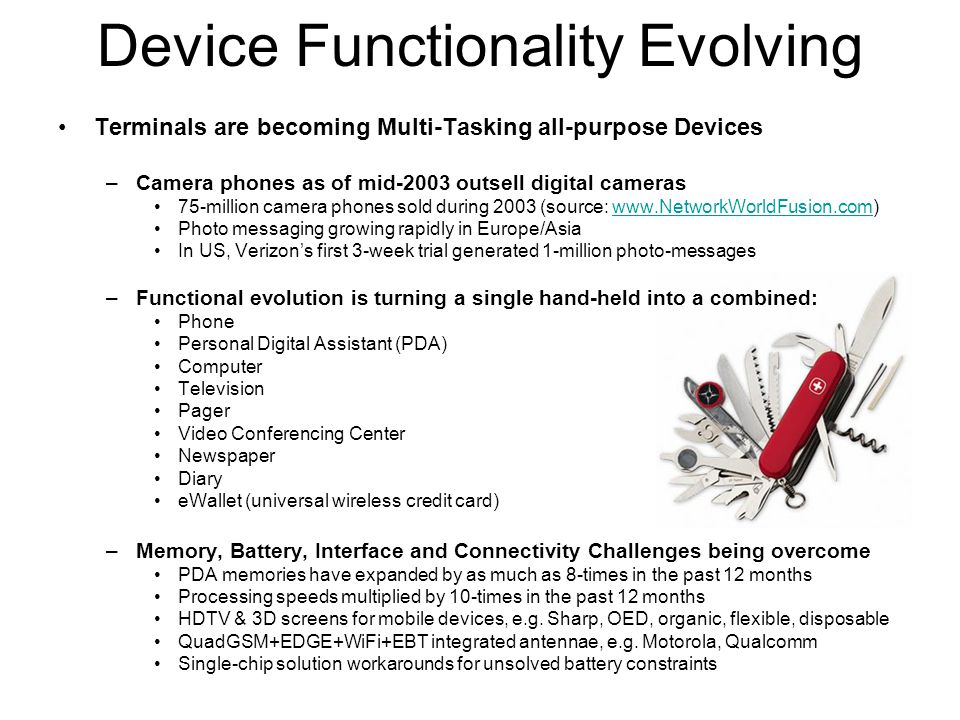 Device Functionality Evolving Terminals are becoming Multi-Tasking all-purpose Devices –Camera phones as of mid-2003 outsell digital cameras 75-million camera phones sold during 2003 (source: www.NetworkWorldFusion.com)www.NetworkWorldFusion.com Photo messaging growing rapidly in Europe/Asia In US, Verizon's first 3-week trial generated 1-million photo-messages –Functional evolution is turning a single hand-held into a combined: Phone Personal Digital Assistant (PDA) Computer Television Pager Video Conferencing Center Newspaper Diary eWallet (universal wireless credit card) –Memory, Battery, Interface and Connectivity Challenges being overcome PDA memories have expanded by as much as 8-times in the past 12 months Processing speeds multiplied by 10-times in the past 12 months HDTV & 3D screens for mobile devices, e.g.