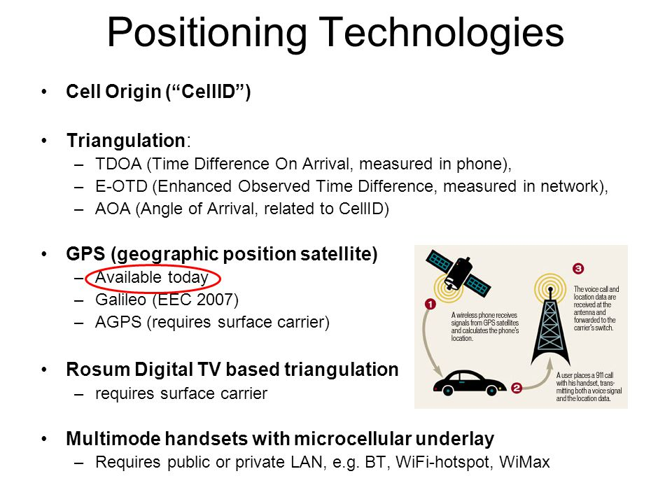 Positioning Technologies Cell Origin ( CellID ) Triangulation: –TDOA (Time Difference On Arrival, measured in phone), –E-OTD (Enhanced Observed Time Difference, measured in network), –AOA (Angle of Arrival, related to CellID) GPS (geographic position satellite) –Available today –Galileo (EEC 2007) –AGPS (requires surface carrier) Rosum Digital TV based triangulation –requires surface carrier Multimode handsets with microcellular underlay –Requires public or private LAN, e.g.