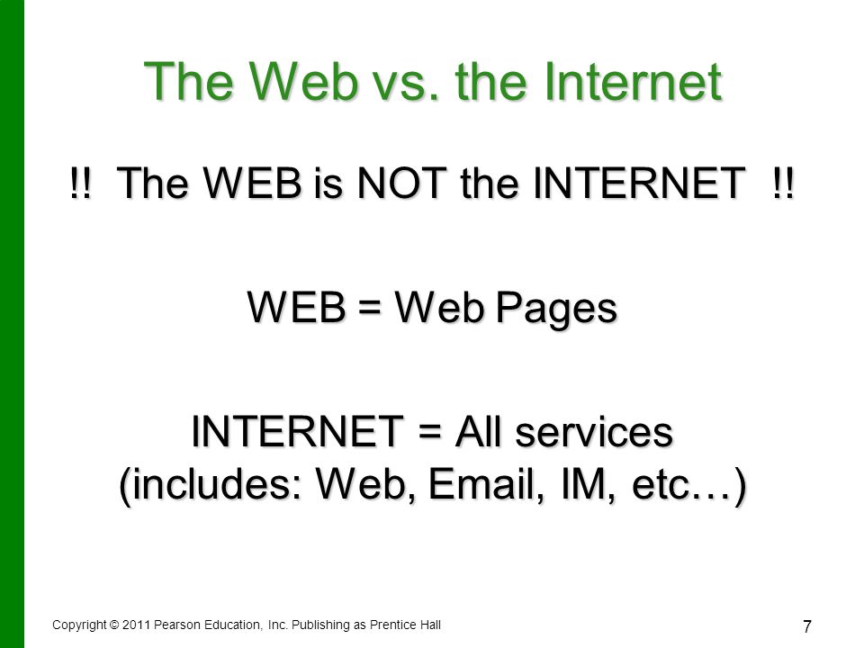 The Web vs. the Internet !. The WEB is NOT the INTERNET !.