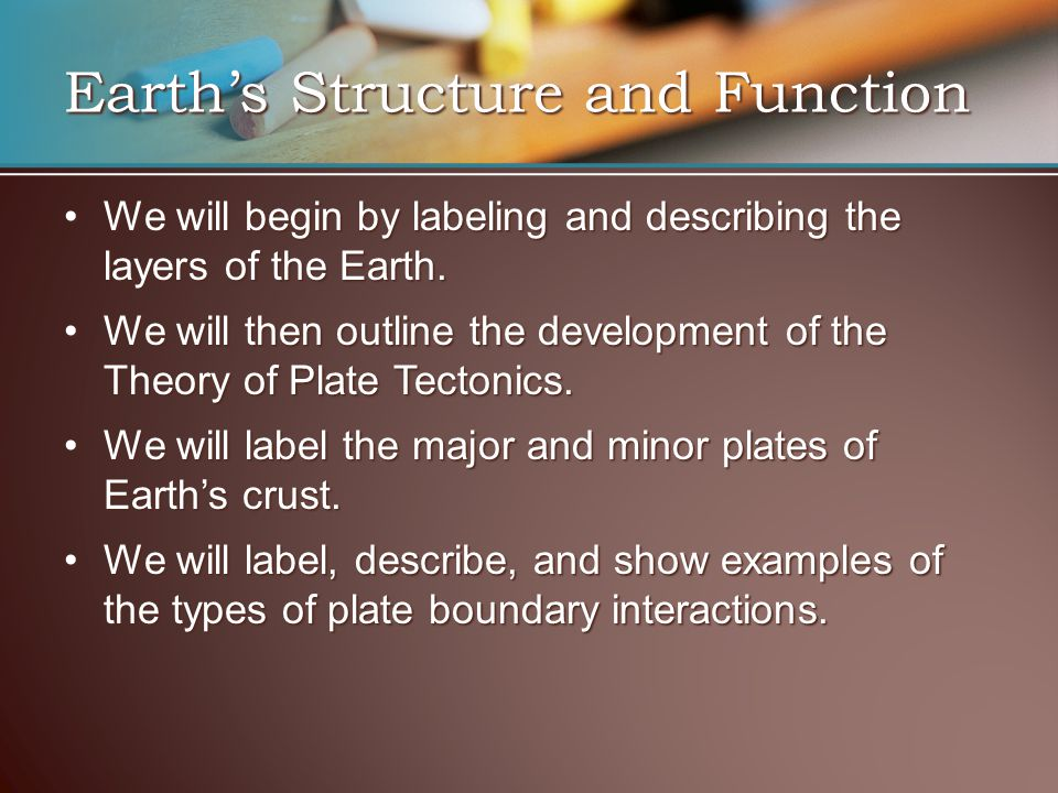 Earth's Structure and Function We will begin by labeling and describing the layers of the Earth.We will begin by labeling and describing the layers of