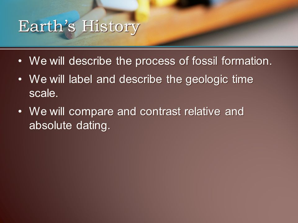Earth's History We will describe the process of fossil formation.We will describe the process of fossil formation. We will label and describe the geol
