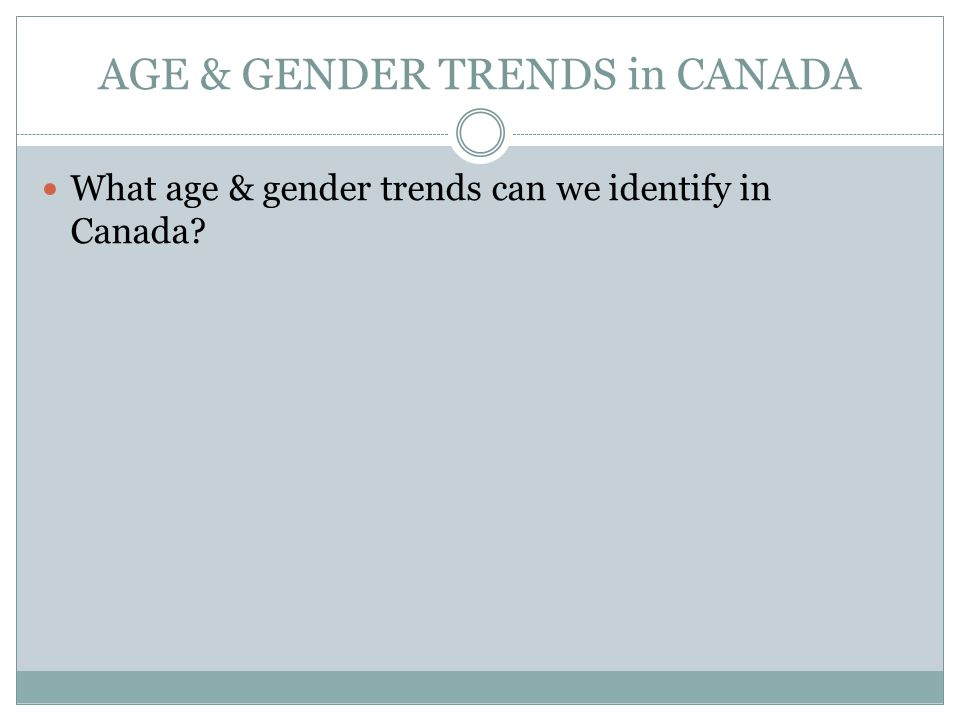 AGE & GENDER TRENDS in CANADA What age & gender trends can we identify in Canada?