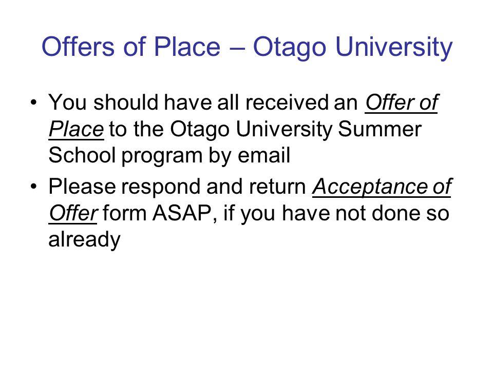 Online Registration – Otago Summer School Follow instructions to register online