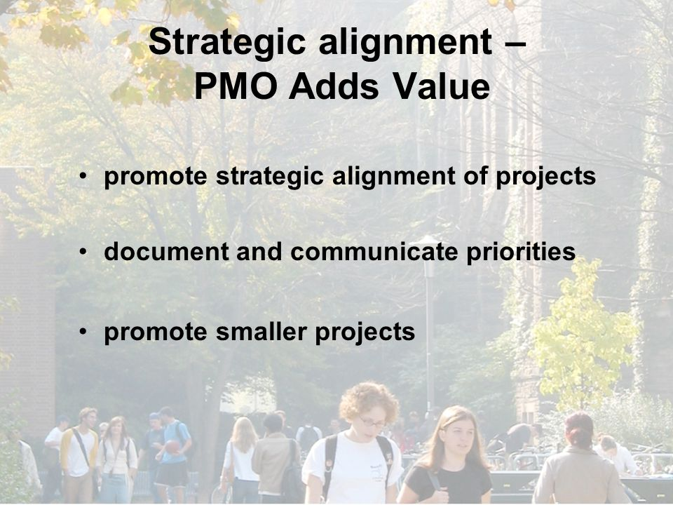 Strategic alignment – PMO Adds Value promote strategic alignment of projects document and communicate priorities promote smaller projects
