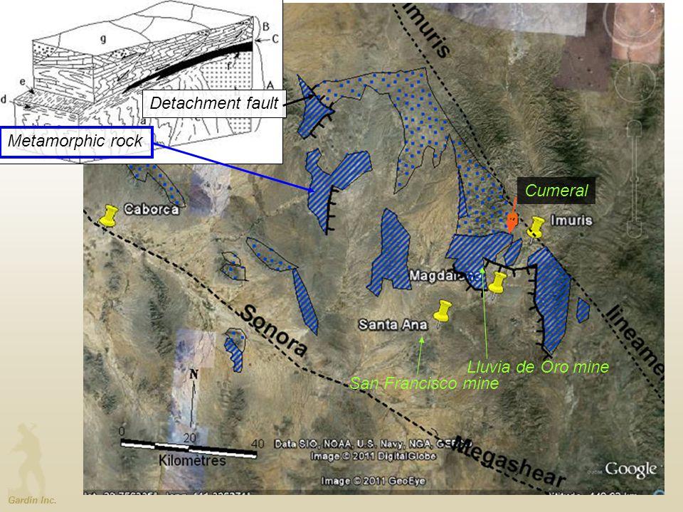 Gardin Inc. Detachment fault Metamorphic rock Cumeral San Francisco mine Lluvia de Oro mine