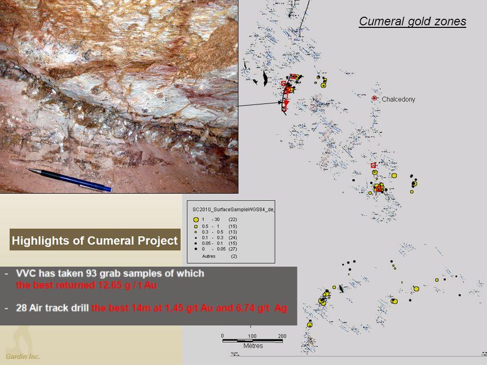 Gardin Inc. Cumeral gold zones