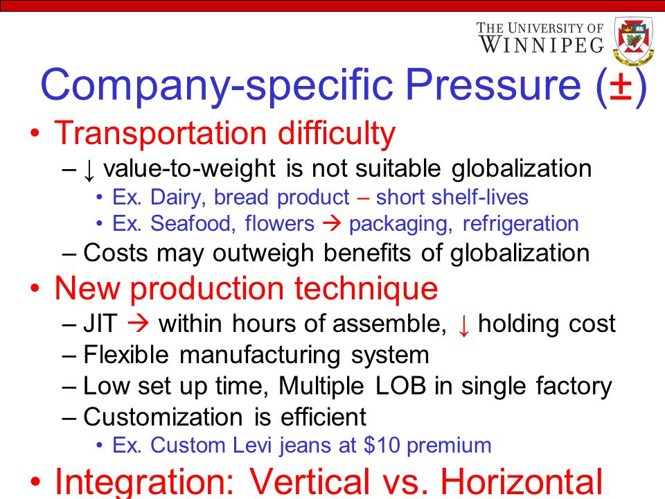 Company-specific Pressure (±) Transportation difficulty –↓ value-to-weight is not suitable globalization Ex. Dairy, bread product – short shelf-lives