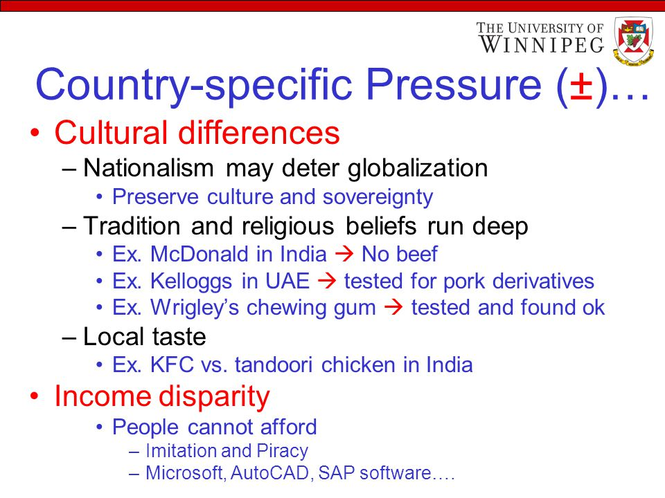 Country-specific Pressure (±)… Cultural differences –Nationalism may deter globalization Preserve culture and sovereignty –Tradition and religious beliefs run deep Ex.