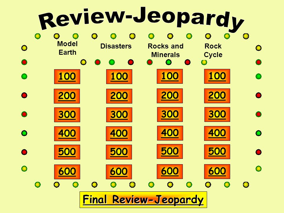 Model Earth DisastersRocks and Minerals Rock Cycle Final Review-Jeopardy Final Review-Jeopardy