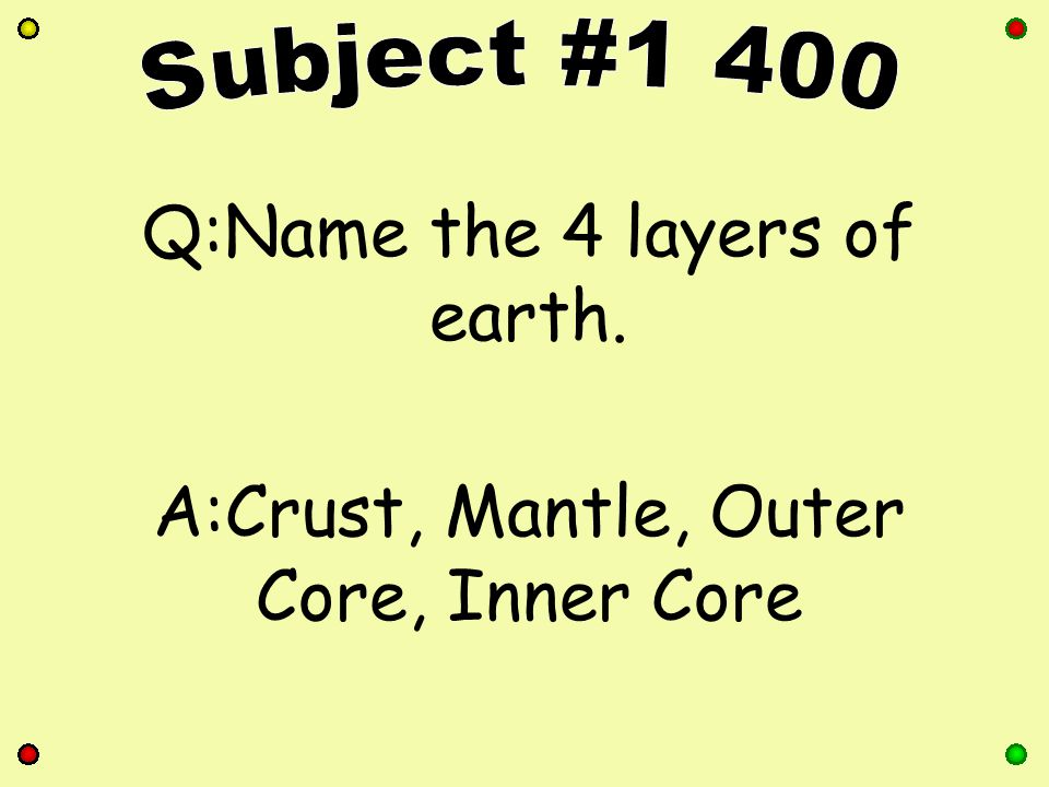 Q:What is the name of the scientists who study earth? A:Geologist