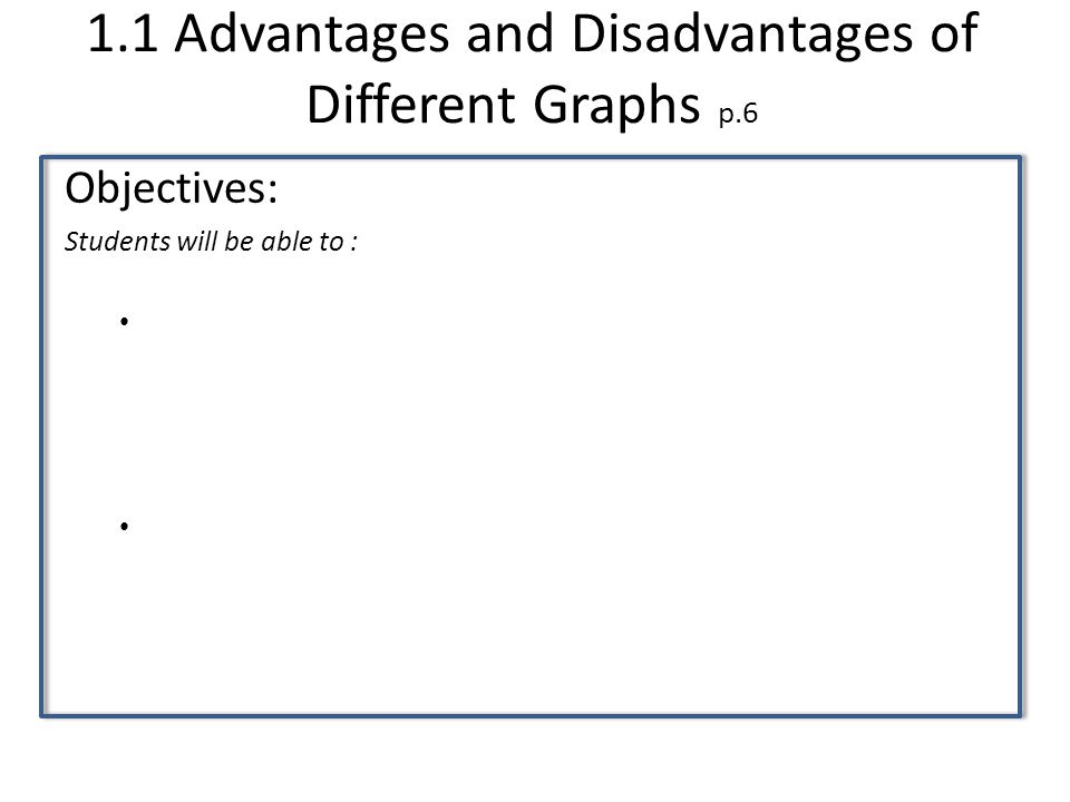 1.3 Critiquing Data Presentation p.28 Objectives: Students will be able to :
