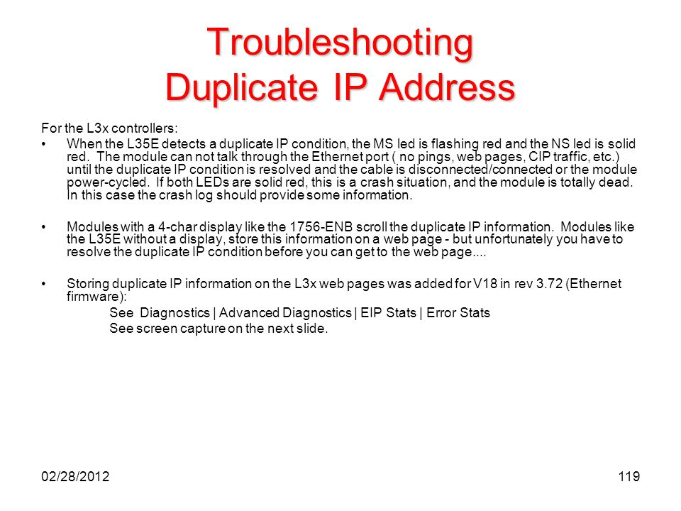 119 Troubleshooting Duplicate IP Address For the L3x controllers: When the L35E detects a duplicate IP condition, the MS led is flashing red and the N