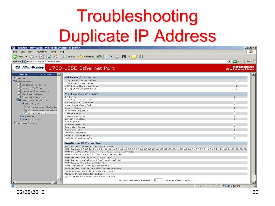 Troubleshooting Duplicate IP Address 12002/28/2012