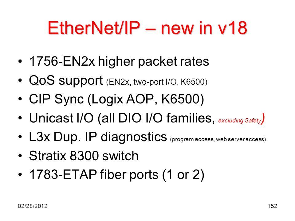 152 EtherNet/IP – new in v18 1756-EN2x higher packet rates QoS support (EN2x, two-port I/O, K6500) CIP Sync (Logix AOP, K6500) Unicast I/O (all DIO I/