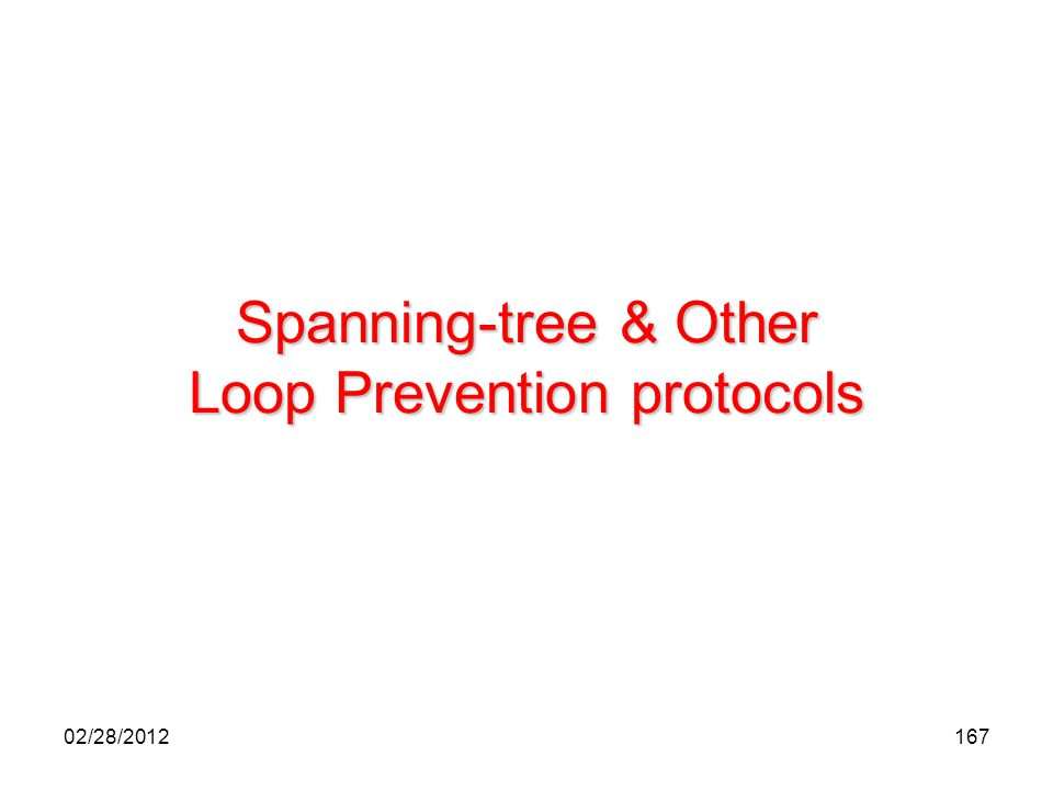 167 Spanning-tree & Other Loop Prevention protocols 02/28/2012