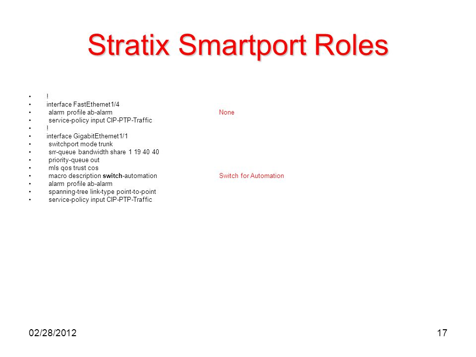 17 Stratix Smartport Roles ! interface FastEthernet1/4 alarm profile ab-alarmNone service-policy input CIP-PTP-Traffic ! interface GigabitEthernet1/1
