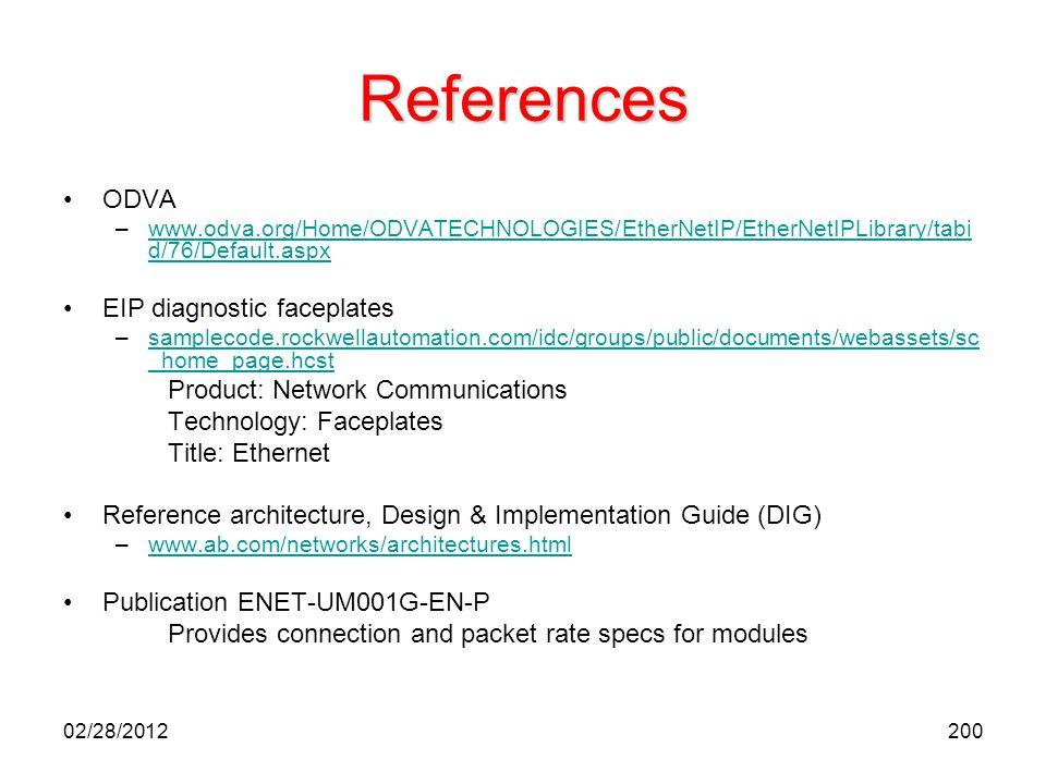 200 References ODVA –www.odva.org/Home/ODVATECHNOLOGIES/EtherNetIP/EtherNetIPLibrary/tabi d/76/Default.aspxwww.odva.org/Home/ODVATECHNOLOGIES/EtherNet