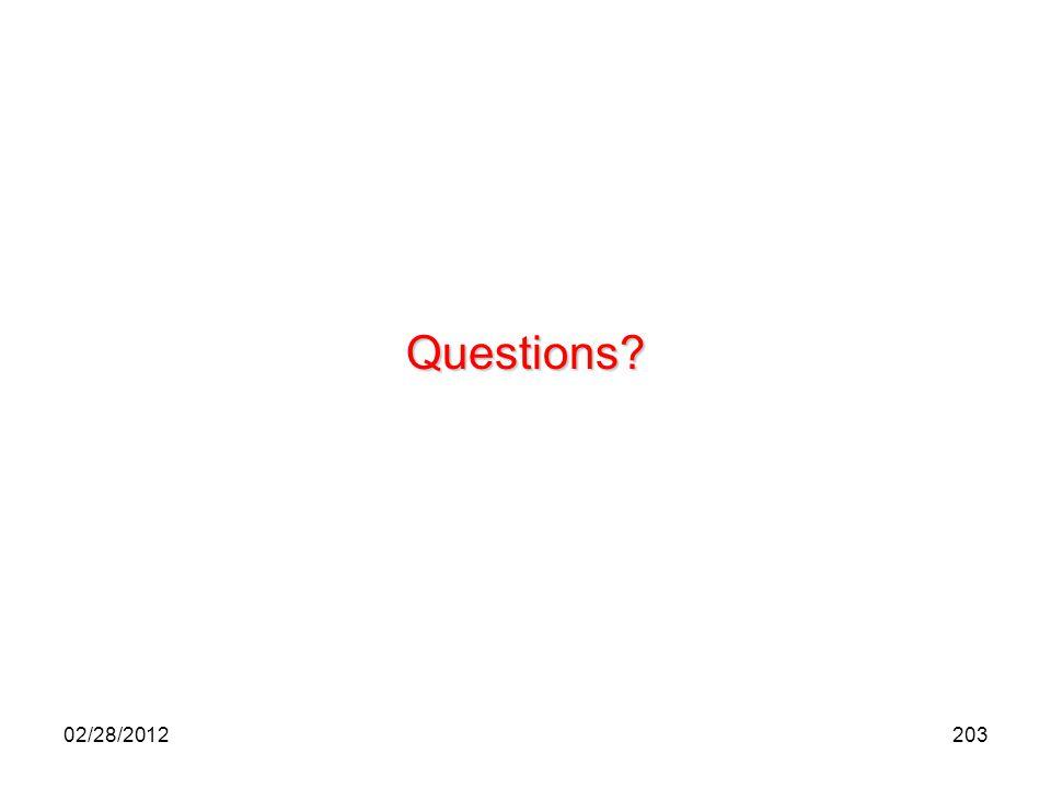 203 Questions? 02/28/2012