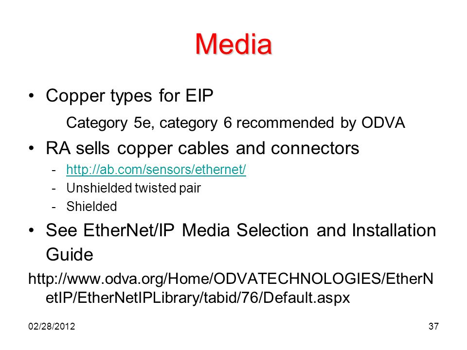 37 Media Copper types for EIP Category 5e, category 6 recommended by ODVA RA sells copper cables and connectors -http://ab.com/sensors/ethernet/http:/
