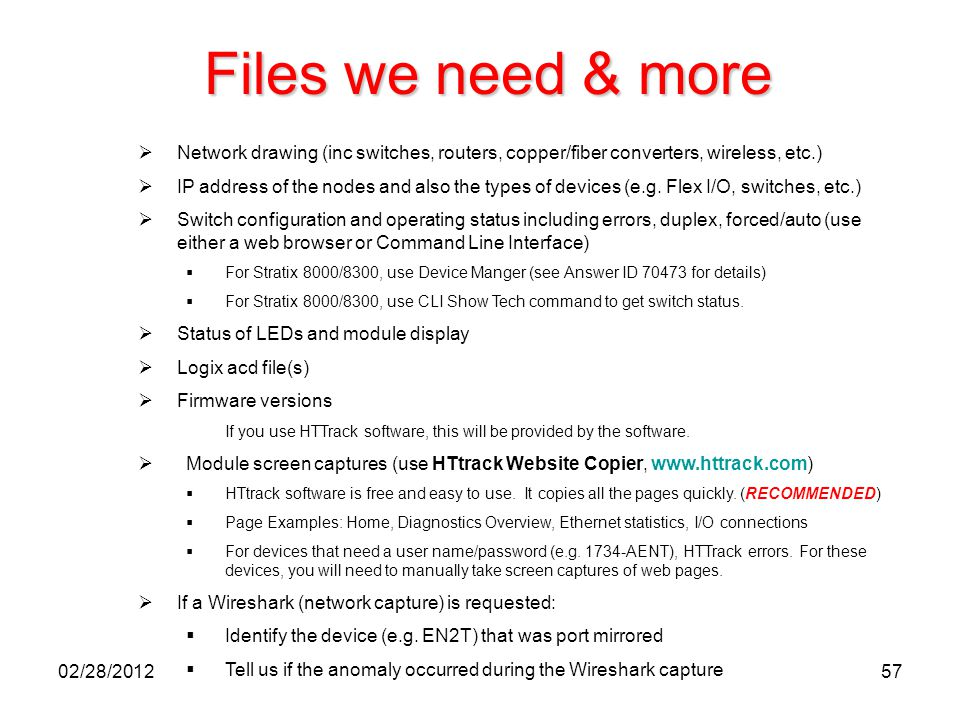 57 Files we need & more  Network drawing (inc switches, routers, copper/fiber converters, wireless, etc.)  IP address of the nodes and also the type