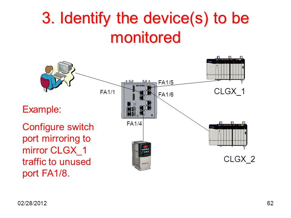 62 3. Identify the device(s) to be monitored CLGX_1 CLGX_2 FA1/5 FA1/1 FA1/6 FA1/4 Example: Configure switch port mirroring to mirror CLGX_1 traffic t