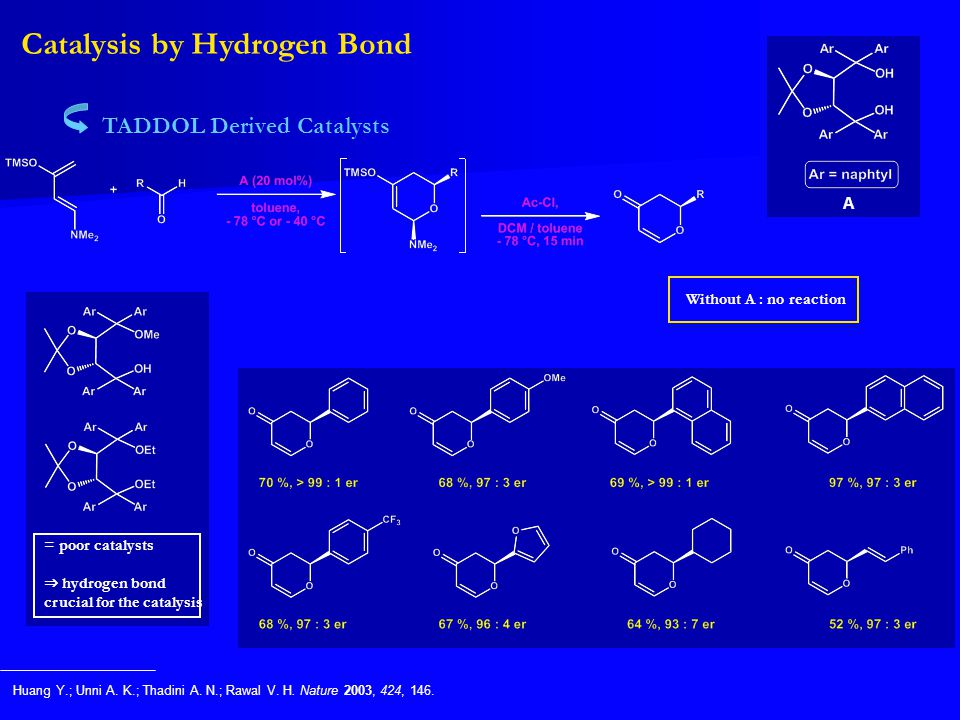= poor catalysts ⇒ hydrogen bond crucial for the catalysis Catalysis by Hydrogen Bond TADDOL Derived Catalysts Huang Y.; Unni A. K.; Thadini A. N.; Ra