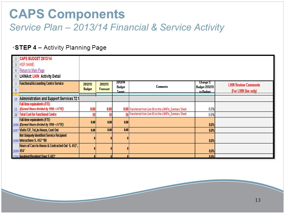 CAPS Components Service Plan – 2013/14 Financial & Service Activity STEP 4 – Activity Planning Page 13
