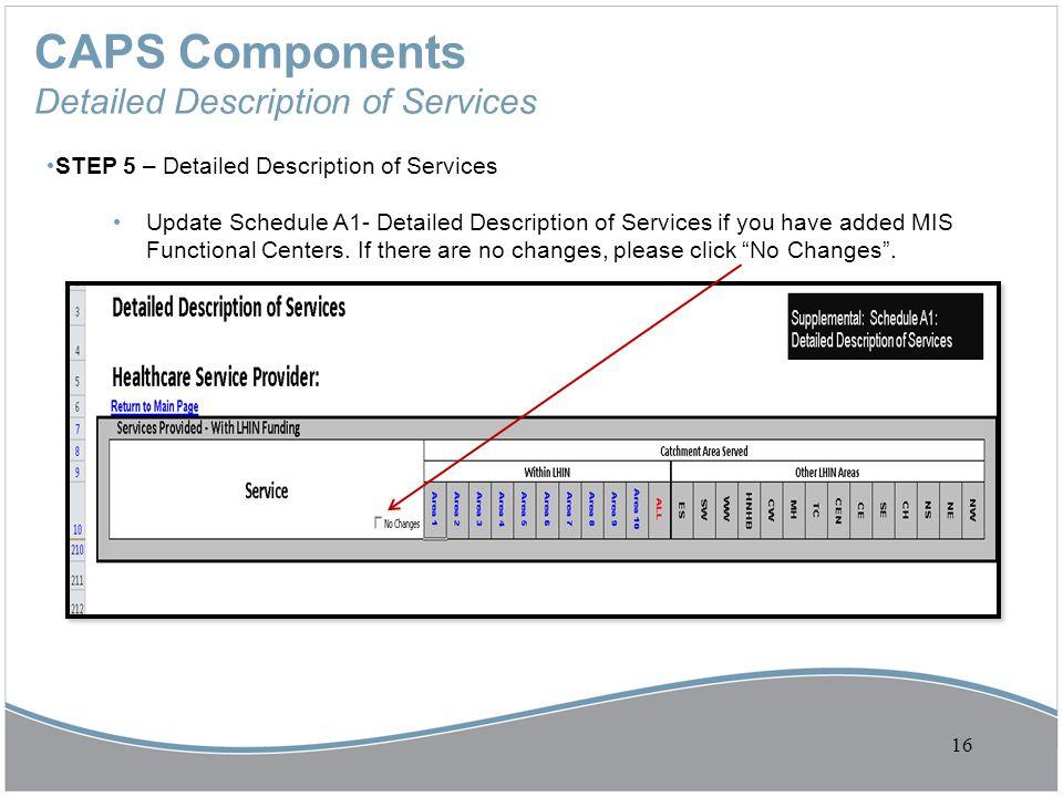 CAPS Components Detailed Description of Services STEP 5 – Detailed Description of Services Update Schedule A1- Detailed Description of Services if you