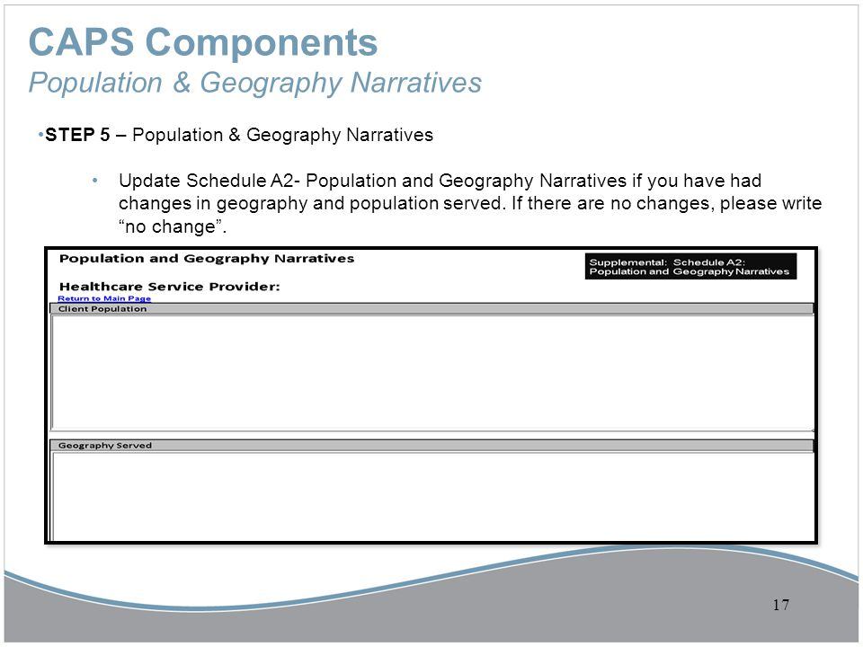 CAPS Components Population & Geography Narratives STEP 5 – Population & Geography Narratives Update Schedule A2- Population and Geography Narratives i