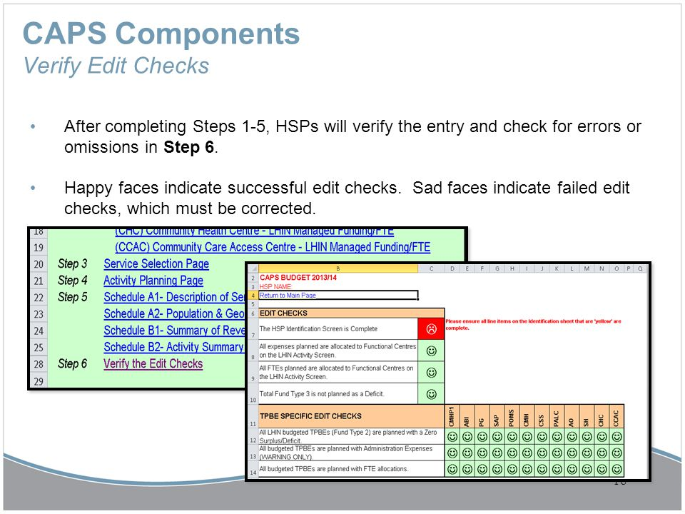 CAPS Components Verify Edit Checks After completing Steps 1-5, HSPs will verify the entry and check for errors or omissions in Step 6. Happy faces ind