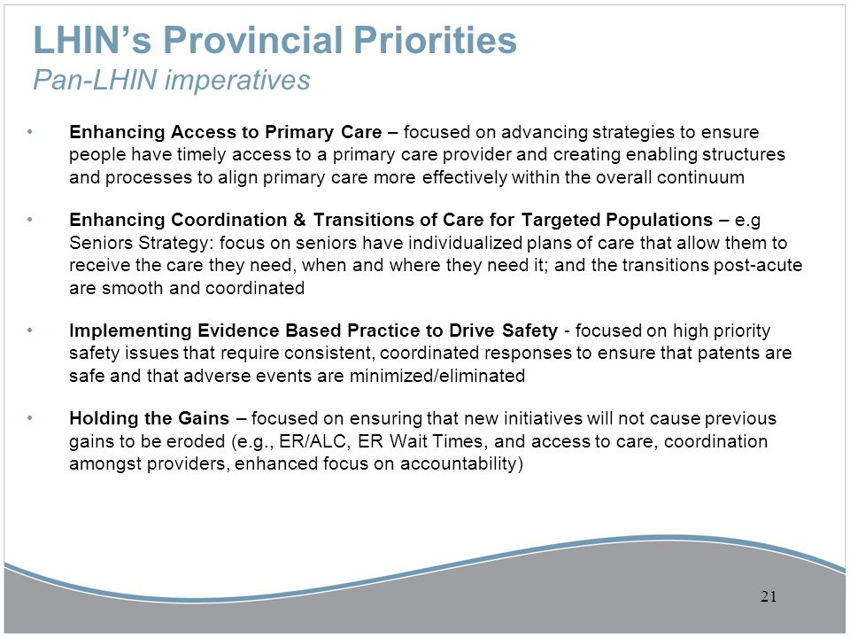 LHIN's Provincial Priorities Pan-LHIN imperatives Enhancing Access to Primary Care – focused on advancing strategies to ensure people have timely acce